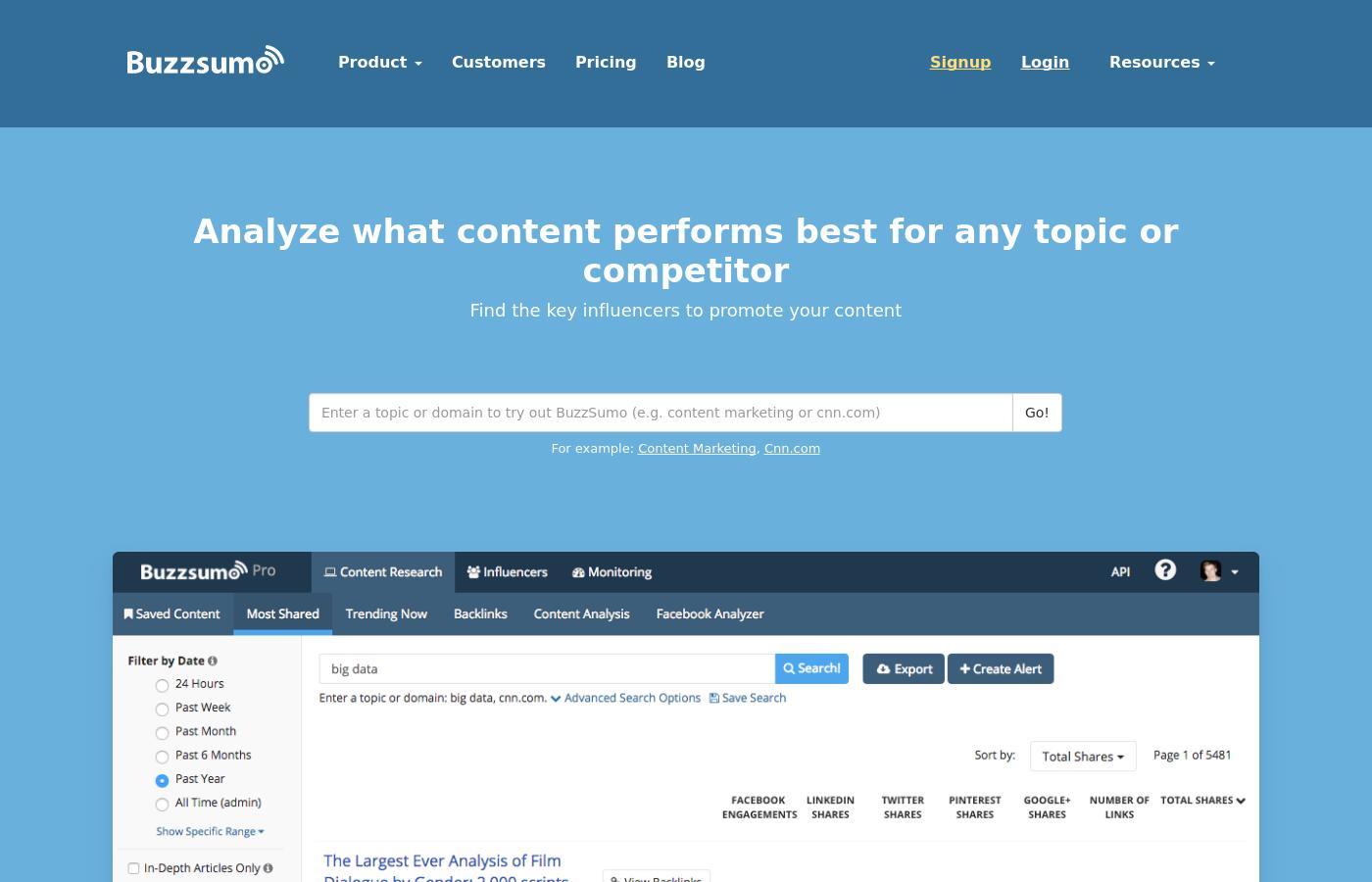 GrowthJunkie Tool | Buzzsumo | Content Marketing